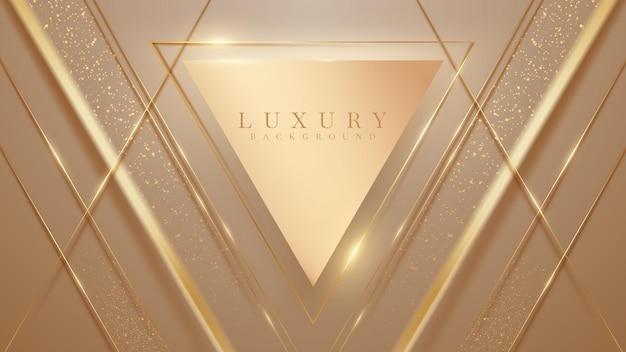 Fundo abstrato com formas elegantes de triângulo marrom com linhas douradas brilhantes