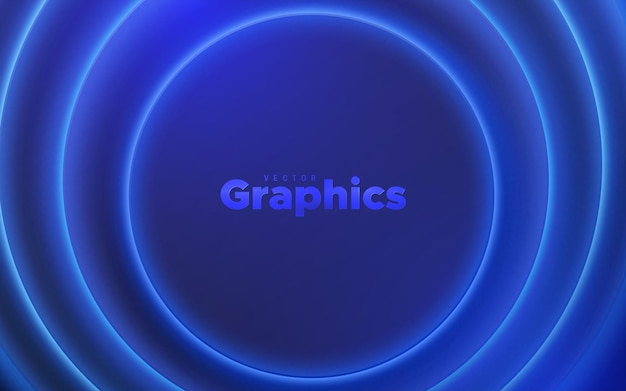 Fundo abstrato com formas geométricas circulares e luz brilhante de néon azul