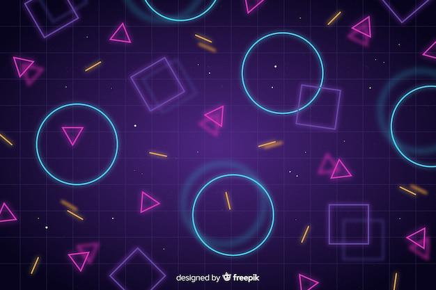 Fundo abstrato com formas geométricas de néon