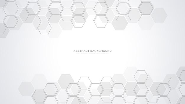 Fundo abstrato com formas geométricas e hexágono. medicina, tecnologia ou design de ciência.