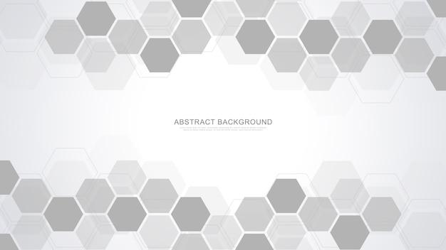 Fundo abstrato com formas geométricas e hexágono, tecnologia e conceito de ciência