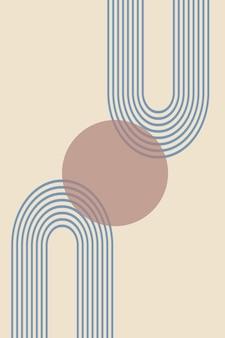 Fundo abstrato com formas geométricas e linhas com impressão de arco-íris e círculo de sol