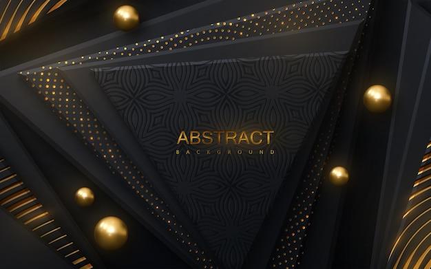 Fundo abstrato com formas geométricas pretas e padrões brilhantes dourados
