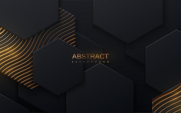Fundo abstrato com formas hexagonais pretas e padrão ondulado dourado cintilante