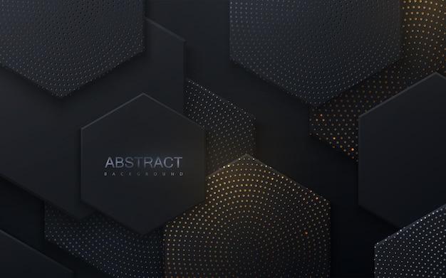 Fundo abstrato com formas hexagonais pretas texturizadas com brilhos prateados e dourados
