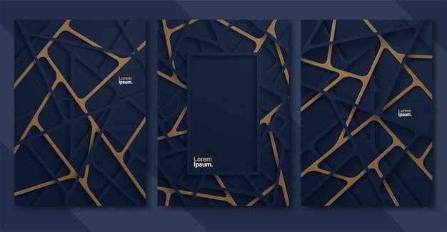 Fundo abstrato com formas lineares de papel azul profundo