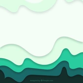 Fundo abstrato com formas onduladas em tons verdes