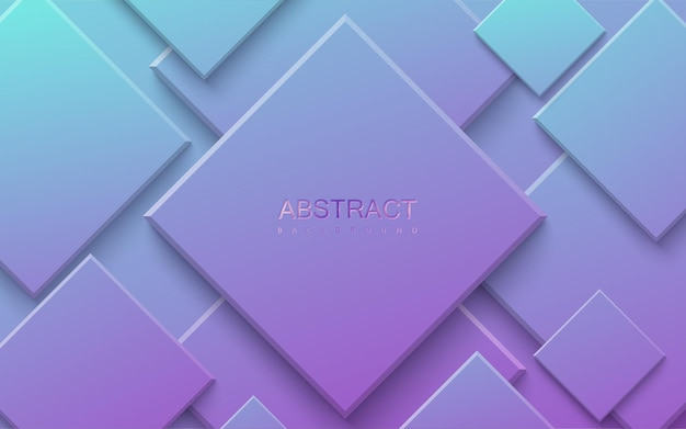 Fundo abstrato com formas quadradas gradientes em azul e roxo