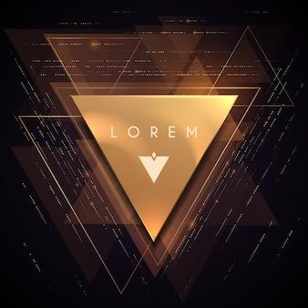 Fundo abstrato com formato de triângulo dourado