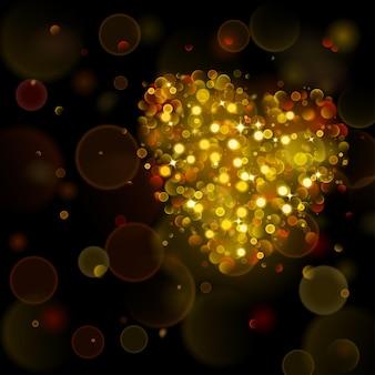 Fundo abstrato com grande coração de ouro com efeito bokeh.