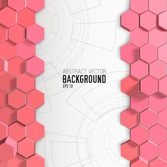 Fundo abstrato com hexágonos rosa