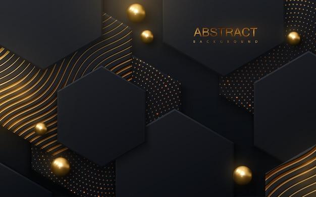 Fundo abstrato com ladrilhos hexagonais pretos texturizados com padrões brilhantes dourados