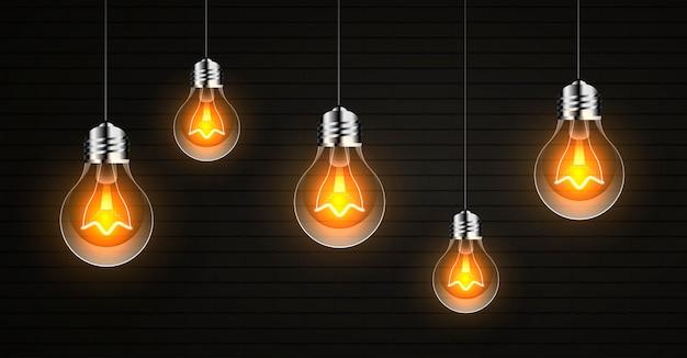 Fundo abstrato com lâmpadas realistas