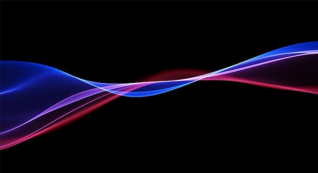 Fundo abstrato com linhas azuis e vermelhas fluxo dinâmico onda ilustração vetorial mágica