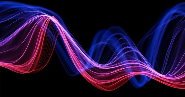 Fundo abstrato com linhas azuis e vermelhas fluxo onda dinâmica malha futura ou onda sonora