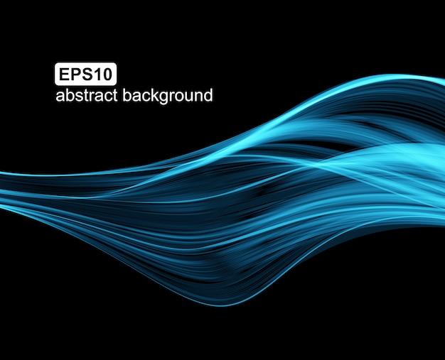 Fundo abstrato com linhas azuis luminosas no fundo preto