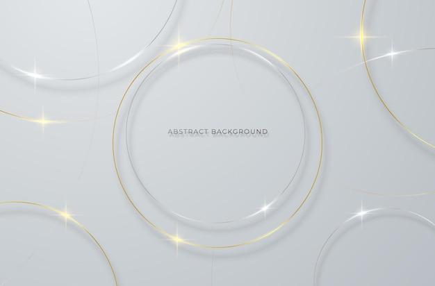 Fundo abstrato com linhas circulares douradas e prateadas em um fundo cinza