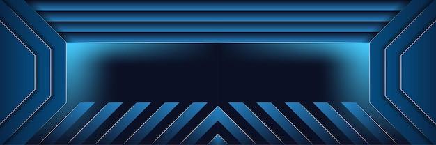 Fundo abstrato com listras azuis meio recortado de papel do modelo de design de forma octogonal