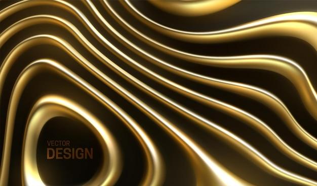 Fundo abstrato com listras douradas onduladas orgânicas