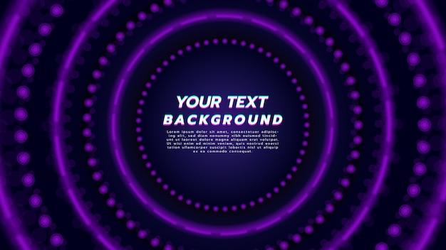 Fundo abstrato com luz de néon roxa na disposição do círculo. tecnologia e conceito de música moderna.