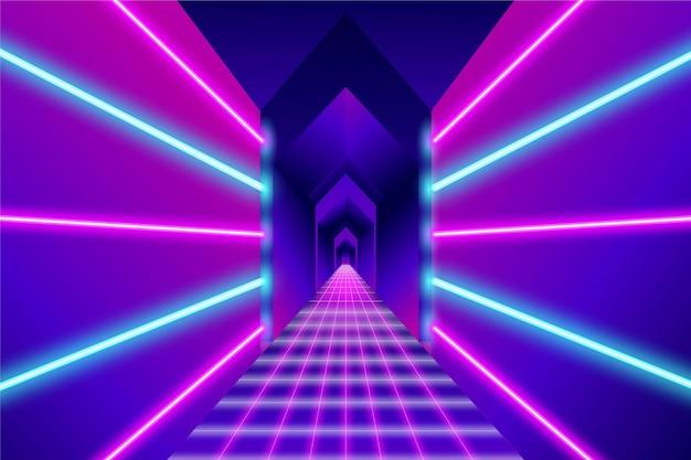 Fundo abstrato com luzes de néon no corredor
