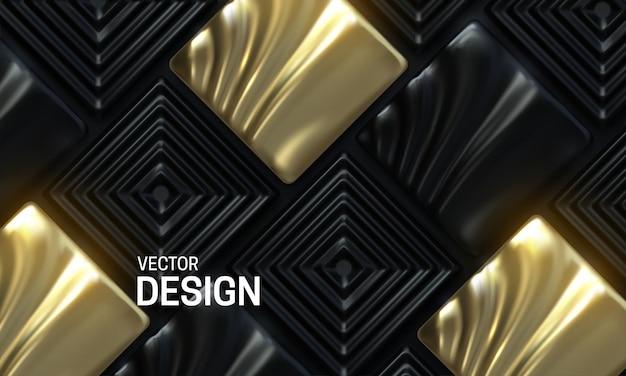 Fundo abstrato com mosaicos ornamentados em preto e dourado