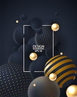 Fundo abstrato com o agrupamento das esferas 3d.
