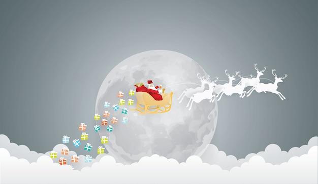 Fundo abstrato com o papai noel no céu com trenó e veados sob a lua cheia