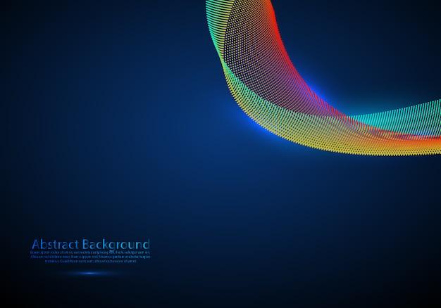 Fundo abstrato com ondas dinâmicas coloridas, linhas e partículas. ilustração vetorial