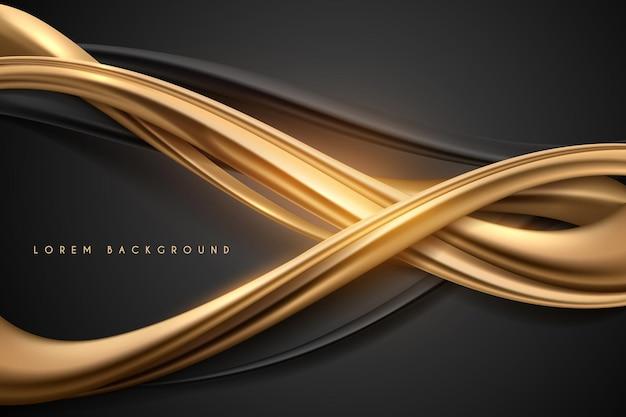 Fundo abstrato com ondas pretas e douradas
