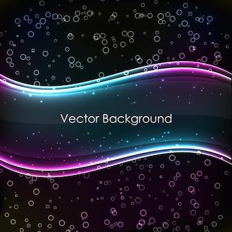 Fundo abstrato com ondas transparentes brilhantes de duas cores e gradientes no fundo preto