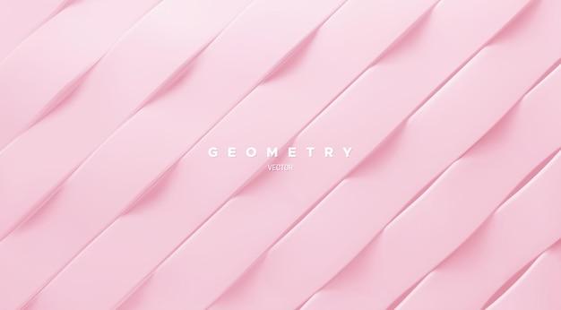 Fundo abstrato com padrão de fitas onduladas rosa inclinadas