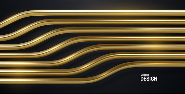 Fundo abstrato com padrão de listras douradas