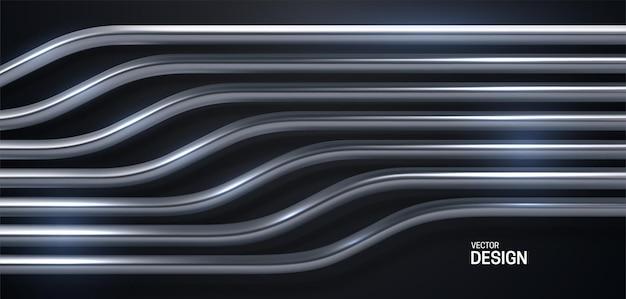 Fundo abstrato com padrão de listras prateadas Vetor Premium