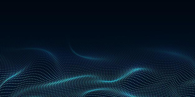 Fundo abstrato com partículas fluindo ondas binárias digitais
