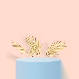 Fundo abstrato com pódio 3d geométrico de cor azul