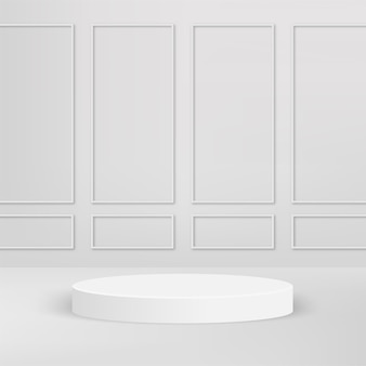 Fundo abstrato com pódio 3d geométrico de cor branca