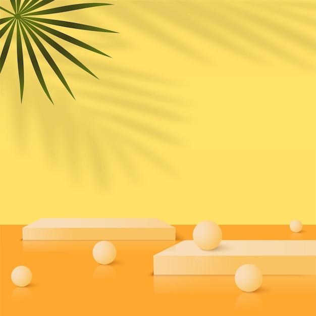 Fundo abstrato com pódios 3d geométricos amarelos