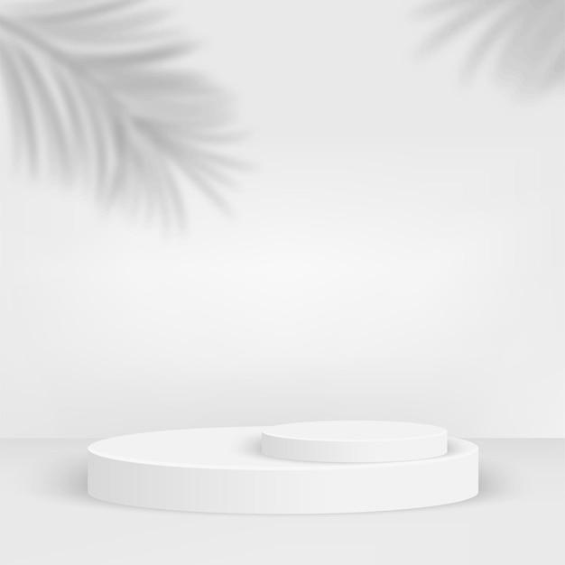 Fundo abstrato com pódios 3d geométricos brancos. ilustração.
