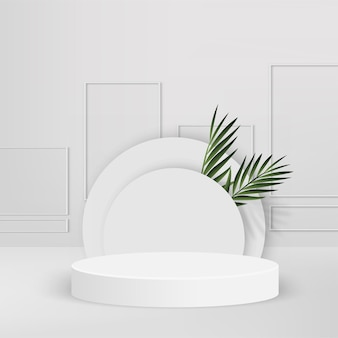 Fundo abstrato com pódios 3d geométricos brancos