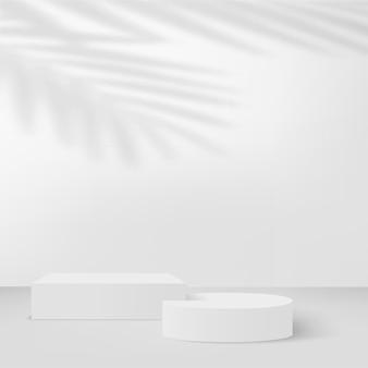 Fundo abstrato com pódios 3d geométricos de cor branca. ilustração vetorial.