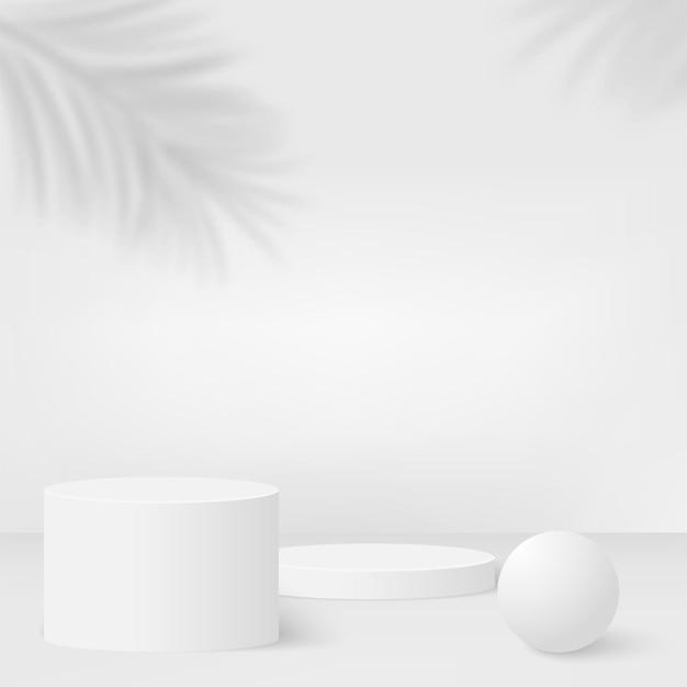 Fundo abstrato com pódios 3d geométricos de cor branca. ilustração.