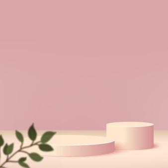 Fundo abstrato com pódios 3d geométricos de cor creme.