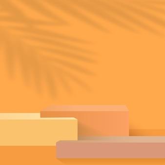 Fundo abstrato com pódios 3d geométricos de cor laranja. ilustração vetorial.