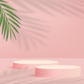 Fundo abstrato com pódios 3d geométricos de cor rosa. ilustração vetorial