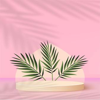 Fundo abstrato com pódios 3d geométricos de cor rosa