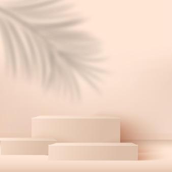 Fundo abstrato com pódios 3d geométricos rosa. ilustração.