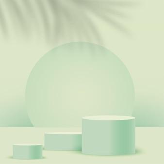 Fundo abstrato com pódios 3d geométricos verdes. ilustração.