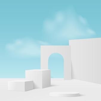 Fundo abstrato com pódios geométricos de céu azul branco