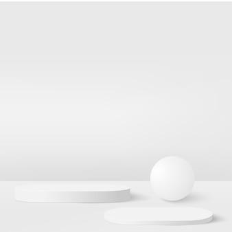 Fundo abstrato com pódios geométricos de cor branca